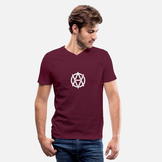 Linux T-Shirts - ANARCHY VEGAN - Men's V-Neck T-Shirt maroon