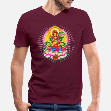 Meditation Tara - Tibet Buddhism, Lotus, Meditation, Yoga, Om - Men's V-Neck T-Shirt