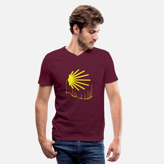 Santiago T-Shirts - Way to Santiago 034 Yellow - Men's V-Neck T-Shirt maroon