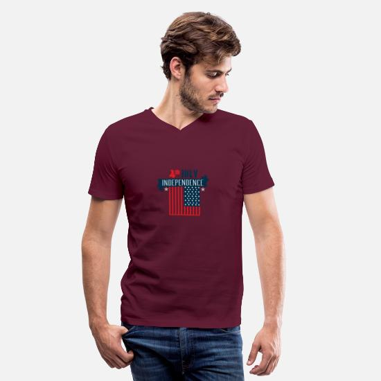 July Fourth T-Shirts - Independence day - 4 th July - Men's V-Neck T-Shirt maroon