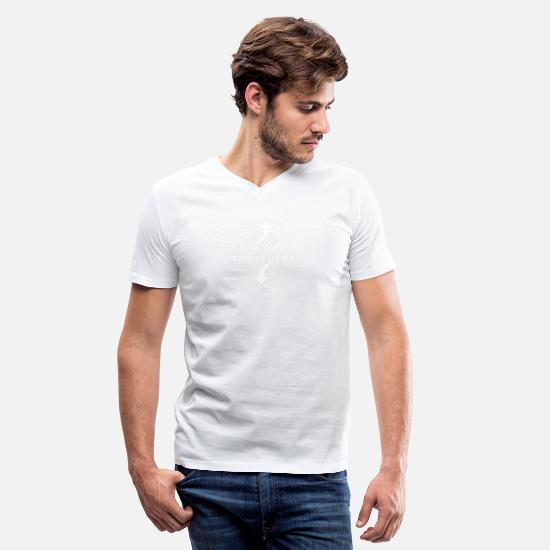 Man T-Shirts - The Man The Legend - Men's V-Neck T-Shirt white