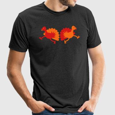 Thanksgiving Turkey Birds two running away! - Unisex Tri-Blend T-Shirt