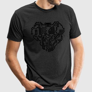 Heart printed circuit board - Unisex Tri-Blend T-Shirt