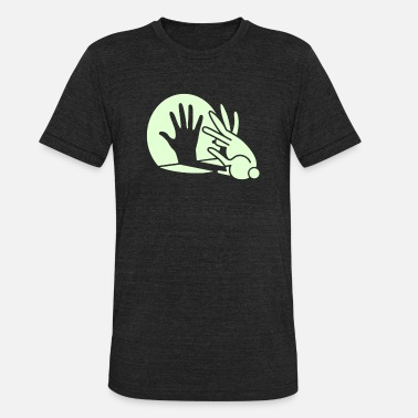 Hand Shadow Rabbit Shadow hand rabbit Glow in the dark - Unisex Tri-Blend T-Shirt