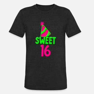 5d0fb750b BIRTHDAY 16 SWEET SIXTEEN with a party hat - Unisex Tri-Blend T-Shirt