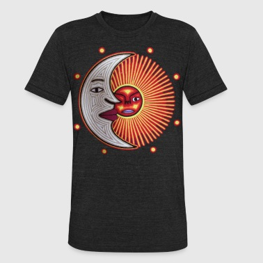 Huichol Peyote Sun and Moon - Unisex Tri-Blend T-Shirt