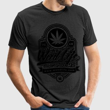 6 - Weed Sign - Black - Unisex Tri-Blend T-Shirt