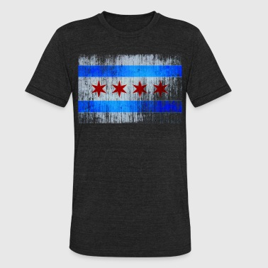 Old Chicago Vintage Distressed Classic Chicago City Flag - Unisex Tri-Blend T-Shirt