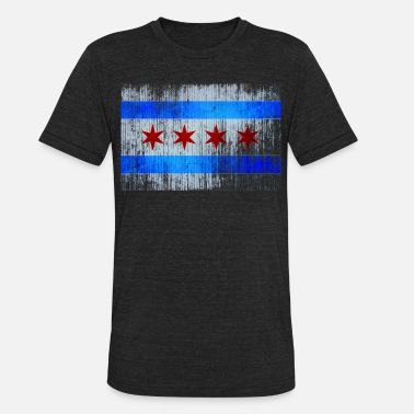 Chicago Flag Vintage Distressed Classic Chicago City Flag - Unisex Tri-Blend T-Shirt