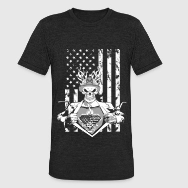 Firefighter superhero - American flag - Unisex Tri-Blend T-Shirt
