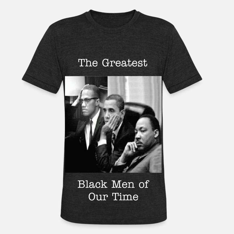 Black T-Shirts - Barack, Malcom, Martin Black - Unisex Tri-Blend T-Shirt heather black