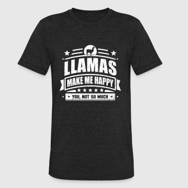 Happy Llama Llamas Make Me Happy Funny Llama Gift T-shirt - Unisex Tri-Blend T-Shirt