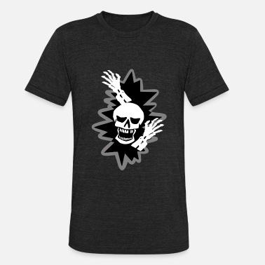 Scary Hand Scary Skull Zombie Hands Burst Halloween - Unisex Tri-Blend T-Shirt
