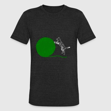 Pussy Balls Kitty Cat Green Wool - Unisex Tri-Blend T-Shirt