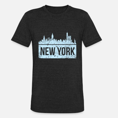 New York State Map Vintage New York Skyline City View Map of NYC Tee - Unisex Tri-Blend T-Shirt