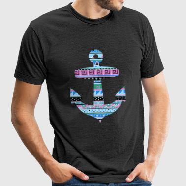 Anchor with Blue Tribal Pattern - Unisex Tri-Blend T-Shirt