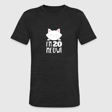 Cute Bday Cat Kitten Im 20 meow 20th Birthday Gift - Unisex Tri-Blend T-Shirt