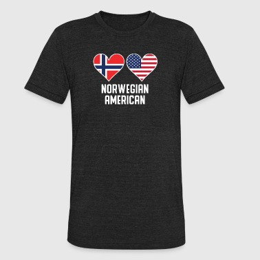 Norwegian Designs Norwegian American Heart Flags - Unisex Tri-Blend T-Shirt