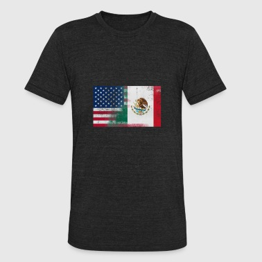 Gift For Mexican Mexican American Half Mexico Half America Flag - Unisex Tri-Blend T-Shirt