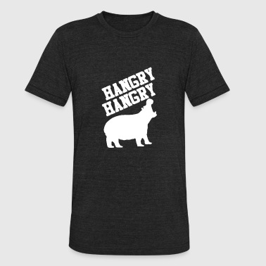 Funny Hungry Quote Hungry Hippo Logo Funny - Unisex Tri-Blend T-Shirt