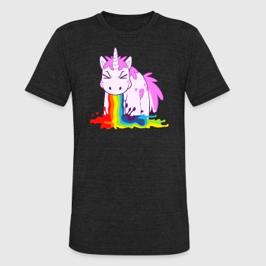 Unicorn Vomiting Rainbow I Puke Rainbows - Unisex Tri-Blend T-Shirt