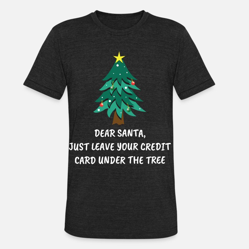 Merry Xmas T-Shirts - Funny Christmas Quotes Santa Clause Tree Gift - Unisex Tri-Blend T-Shirt heather black