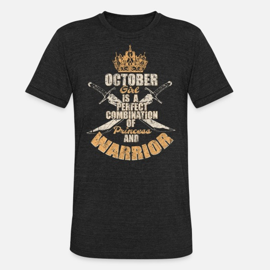 October T-Shirts - October birthday girl - Unisex Tri-Blend T-Shirt heather black