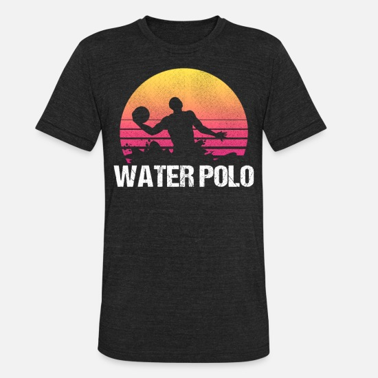 Water T-Shirts - Waterpolo Retro Water Polo Swimmers Sport Gift - Unisex Tri-Blend T-Shirt heather black