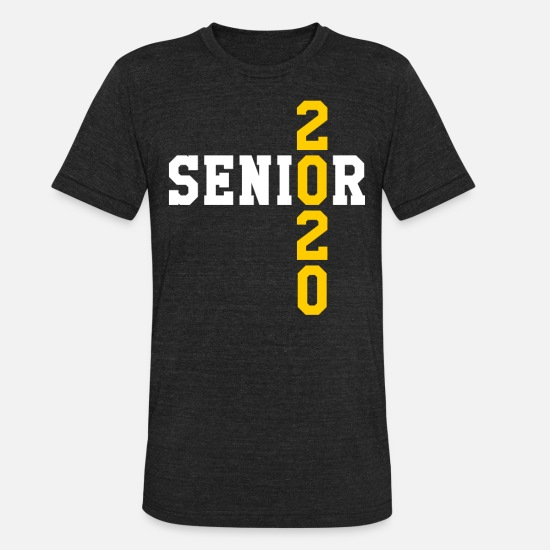 2020 T-Shirts - Senior 2020 Crossed Yellow and White Text - Unisex Tri-Blend T-Shirt heather black
