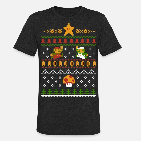 Christmas T-Shirts - Retro Christmas - Unisex Tri-Blend T-Shirt heather black