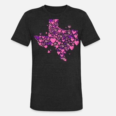 Heart Designs Texas – 100 Hearts Design - Unisex Tri-Blend T-Shirt