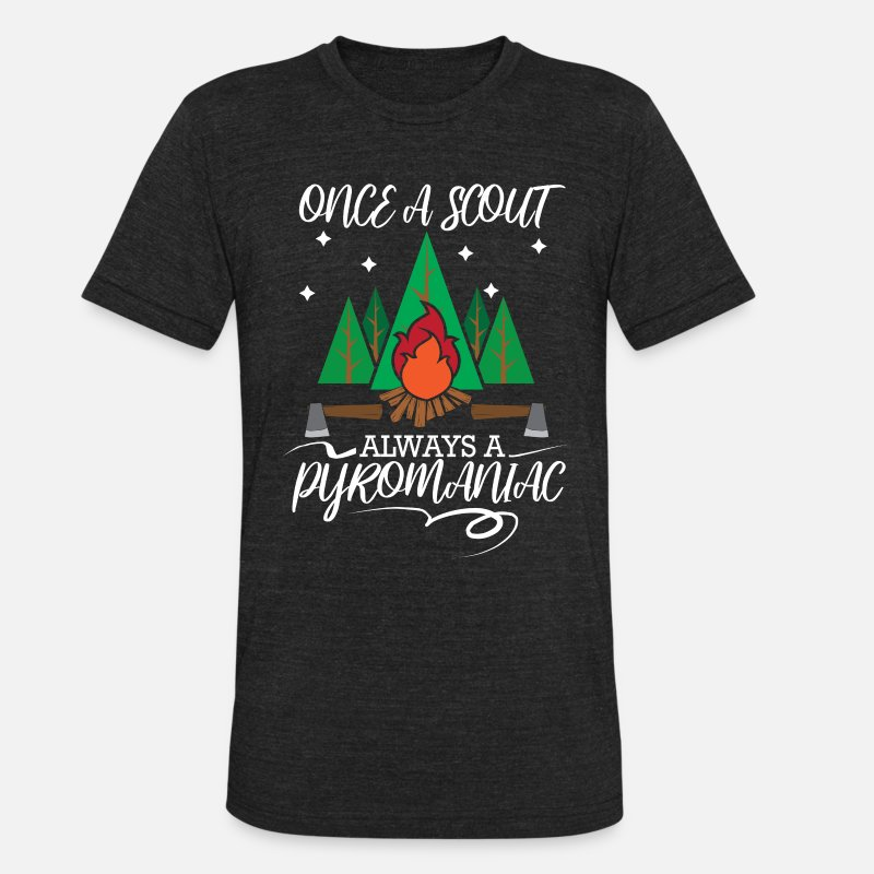 Scout T-Shirts - Scout camping and marshmallow campfire Camper Gift - Unisex Tri-Blend T-Shirt heather black
