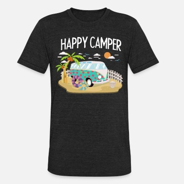 Camper Trailer Happy Camper - Camping Roadtrip RV Trailer - Unisex Tri-Blend T-Shirt