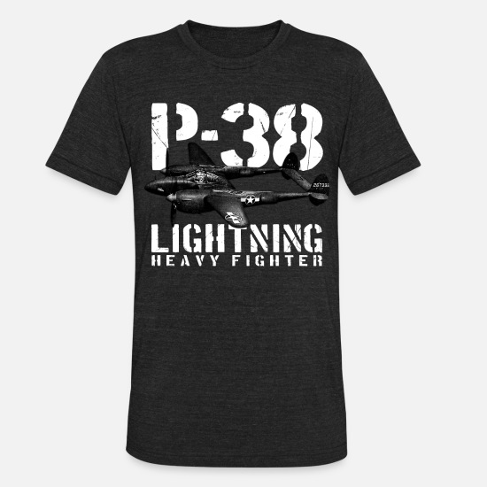 World T-Shirts - P-38 Lightning - Unisex Tri-Blend T-Shirt heather black