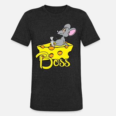 Big Cheese Burger Mouse Mice Big Boss sitting on a cheese Cartoon - Unisex Tri-Blend T-Shirt