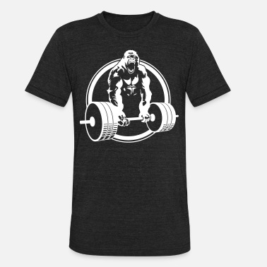 Deadlifting Gorilla Lifting Fitness - Unisex Tri-Blend T-Shirt