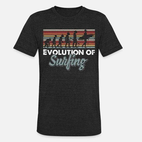 Surfer T-Shirts - Evolution of surfing - Unisex Tri-Blend T-Shirt heather black