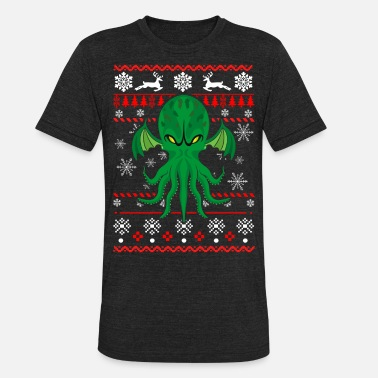 Godzilla Vs Cthulhu Cthulhu Ugly Christmas Sweater - Unisex Tri-Blend T-Shirt