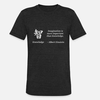 Knowledge Quote with Japanese Kanji - Unisex Tri-Blend T-Shirt