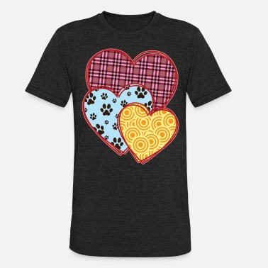 Three Hearts Valentine's Day Paws Dog Cat Lovers - Unisex Tri-Blend T-Shirt