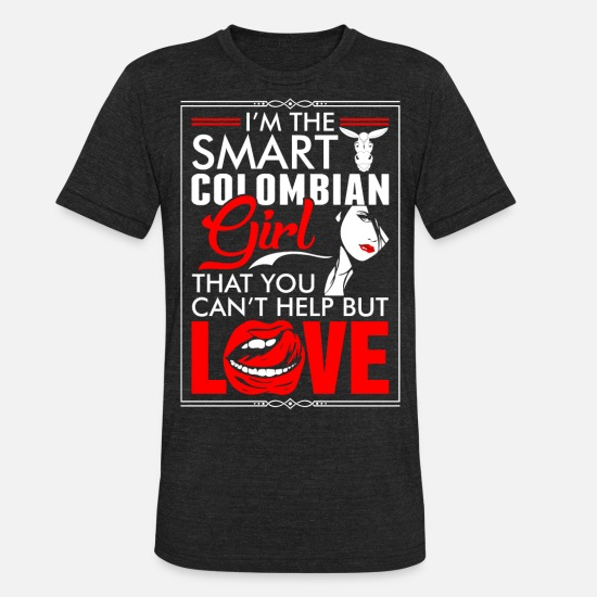 Colombian T-Shirts - Colombian Girl Love - Unisex Tri-Blend T-Shirt heather black