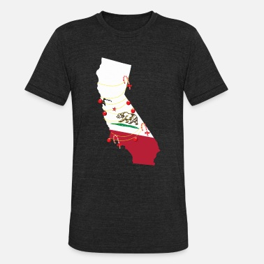 California Map Christmas | USA State America - Unisex Tri-Blend T-Shirt