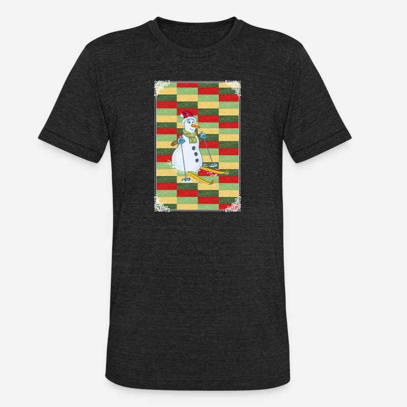 Merry Xmas T-Shirts - SKIING SNOWMAN! GIFT IDEA FOR THE ADVENT - Unisex Tri-Blend T-Shirt heather black