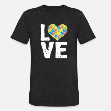National Autism Awareness Month 2019 Cute Autism Awareness Love Colorful Puzzle Heart - Unisex Tri-Blend T-Shirt