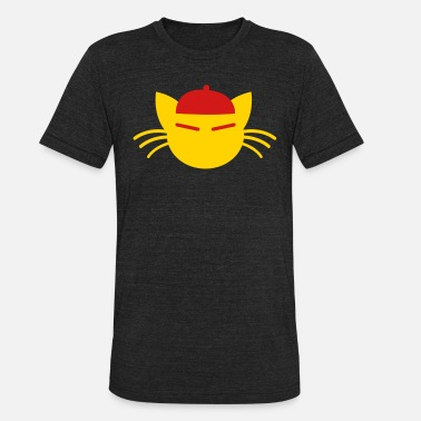 Whiskers chinese hat cat with whiskers cute! - Unisex Tri-Blend T-Shirt