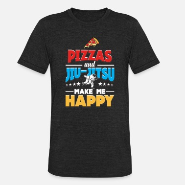 Tops Grappling Pizza And Jiu Jitsu Make Me Happy, Martial Arts - Unisex Tri-Blend T-Shirt