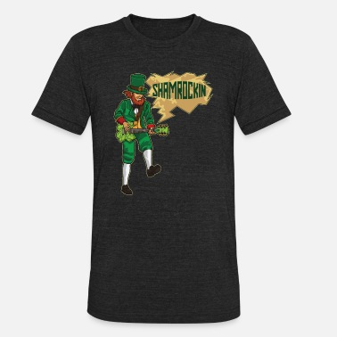 Eguitar EGuitar Playing Leprechaun - Shamrockin - Unisex Tri-Blend T-Shirt