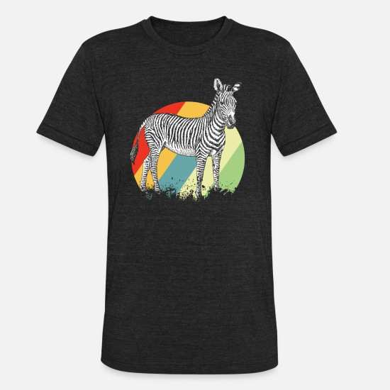 Gift Idea T-Shirts - Zebra Stripes Zebras Black White Animal Gift - Unisex Tri-Blend T-Shirt heather black