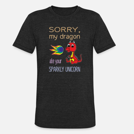 Unicorn T-Shirts - Sorry My Dragon Ate Your Sparkly Unicorn - Unisex Tri-Blend T-Shirt heather black