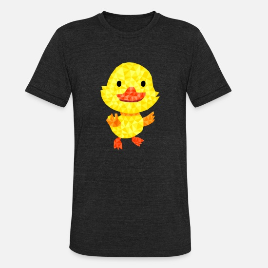 Love T-Shirts - Artsy Duck Bird Cute Pet Animal Polygonal Gift - Unisex Tri-Blend T-Shirt heather black